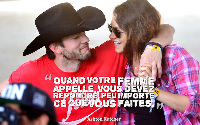 phrase romantique, photo couple adorable, Mila Kunish et Ashton Kutcher, femme aux cheveux marron