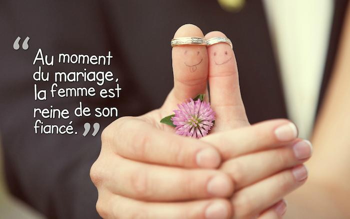 citation amoureuse, photos de mariage mignon, petite fleur violette, citation amour mariage