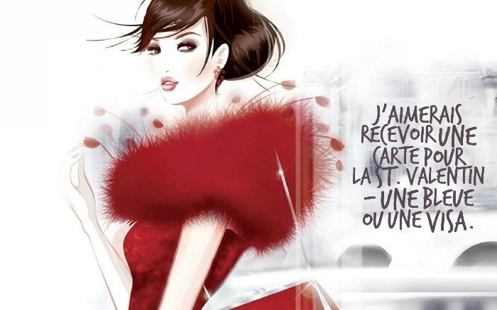citation marrante, illustration femme à la mode aux cheveux attachés en chignon bas