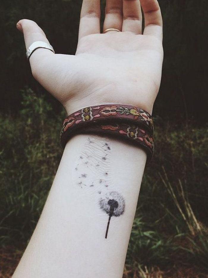 dibujar la flor del diente de león en la muñeca idea de tatuaje cicatriz