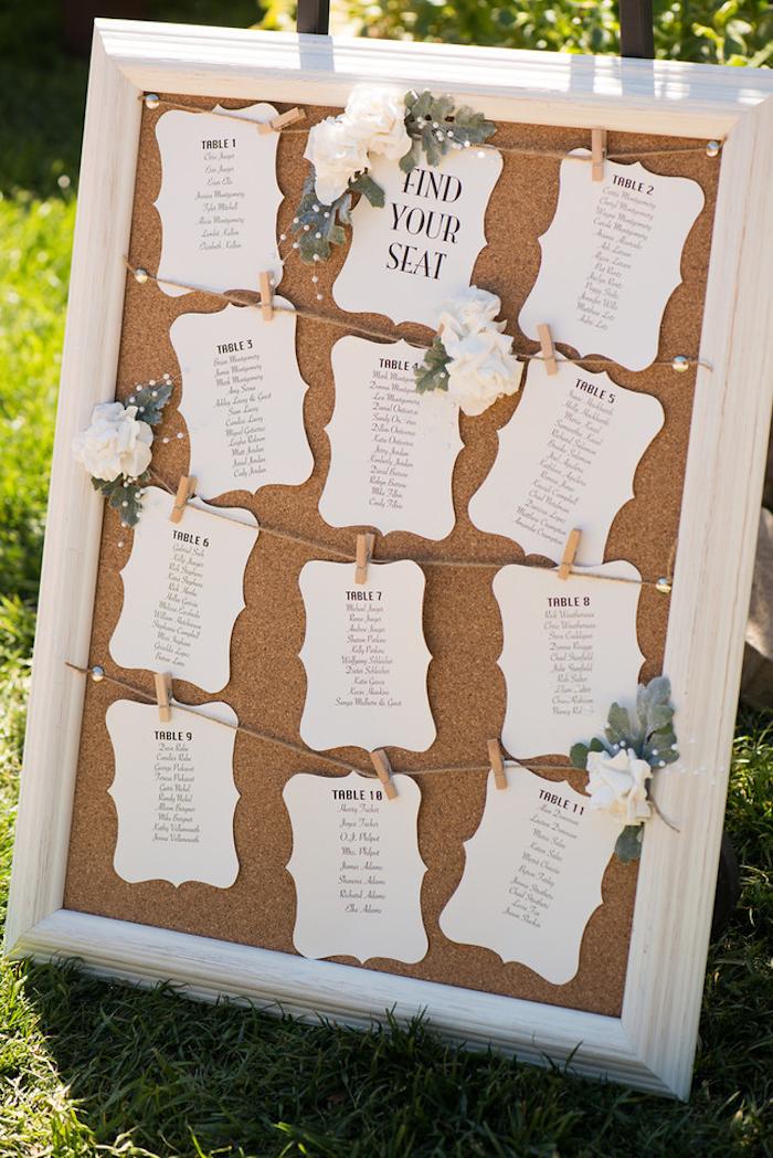 plan de table pour mariage cadre blanc et fond de liège avec des étiquettes blancs et les noms des invités en lettres noires, fixation avec des pinces à linge bois