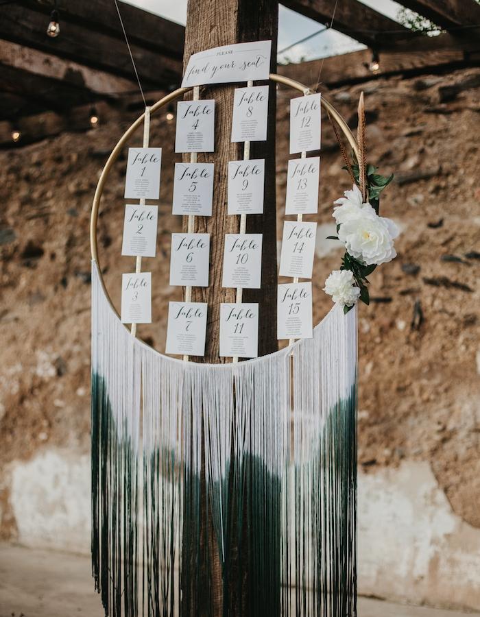 plan de table mariage en cerceau en bois, étiquettes blanches noms invités et macramé effet ombré blanc et vert, deco de fleurs blanches