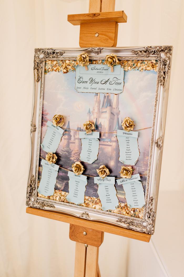 plan de table mariage en tableau château enchanté dans un cadre baroque, support de chevalet en bois, étiquettes bleu pastel avec noms invités et roses dorées