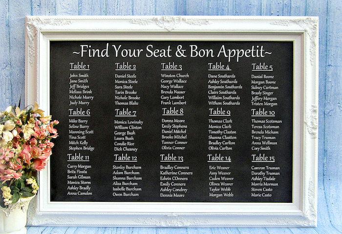 idée de plan de table classique cadre blanc avec tableau noir sur fond, noms invités écrits en blanc, bouquet de fleurs décoratif