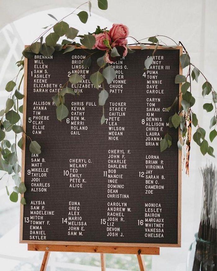 idée de pla de table original cadre en bois, fond noir avec des noms invités lettres blanches, guirlande verte avec quelques roses, chevet comme support