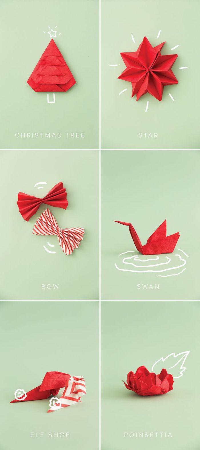 activité créative avec serviette en papier, déco de table avec figurine en serviettes rouges, origami de noel