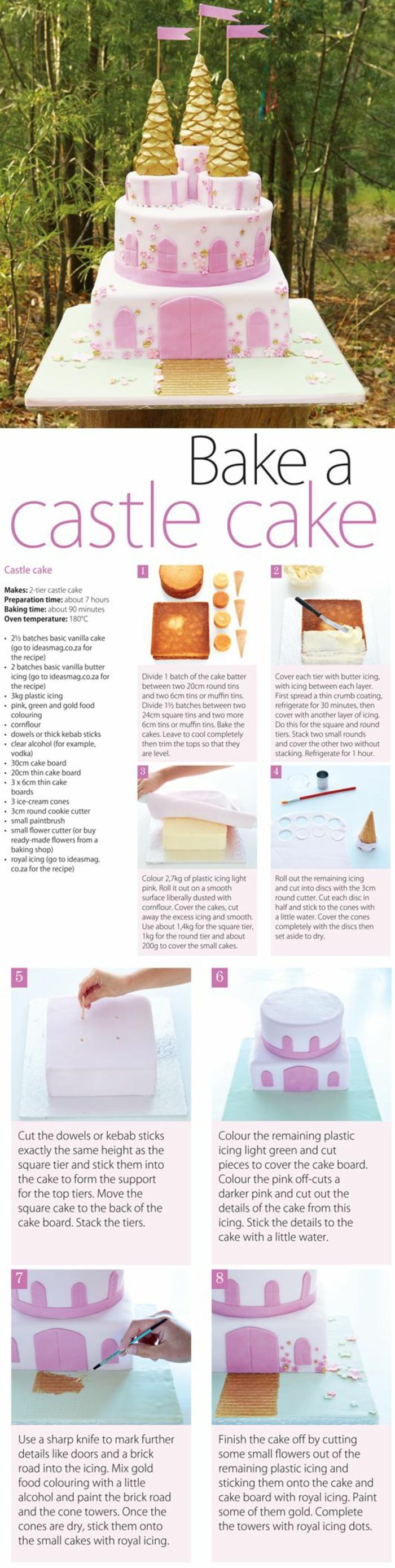 Formidable idée gâteaux anniversaire princesse gâteau château princesse étapes