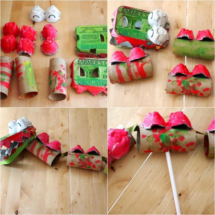 un un bricolage a faire avec des boîtes d'oeufs et des rouleaux de papier toilette, un dragon chinois dansant