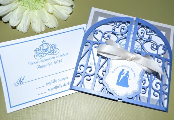 Un faire part mariage chic et elegant faire part walt disney idée bleu claire