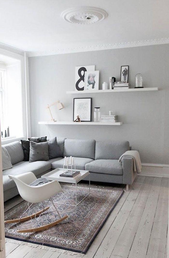 salon et couleur perle grise et plafond blanc