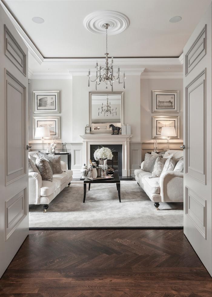 peinture salon blanc et taupe clair style chateau