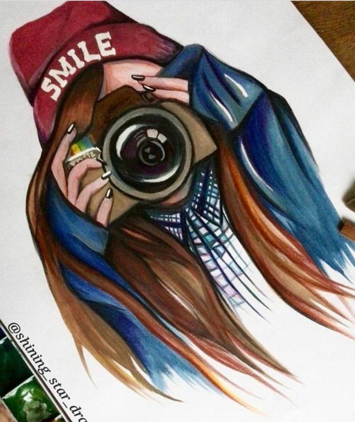 Fille dessin idée dessin petite fille belle en dessin de filles idée cool appareil de photo