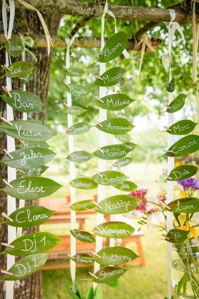 Support menu mariage porte nom original inspiration diy feuilles écrire les noms de vos invités