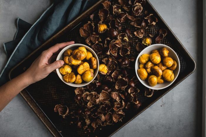 que faire avec des châtaignes, recettes délicieuse à base de chataignes grillées au four