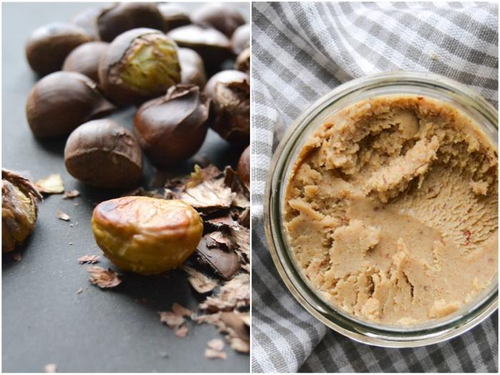 idée originale pour un cadeau gourmand à offrir pour les fêtes, recette avec chataigne et noix pour un beurre délicieux