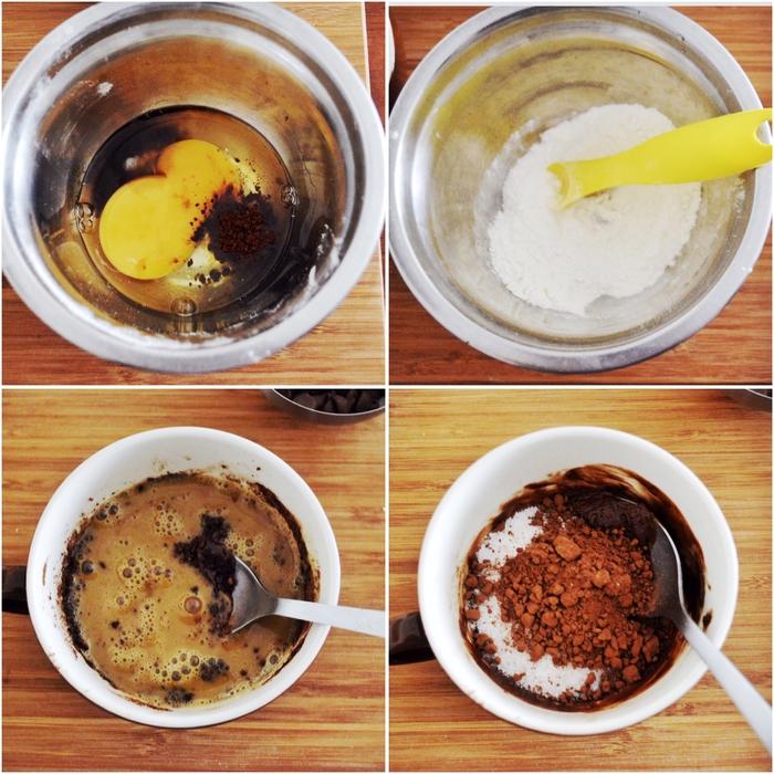comment préparer un délicieux mug cake fondant chocolat et caramel, recette rapide de dessert décadent au micro-ondes