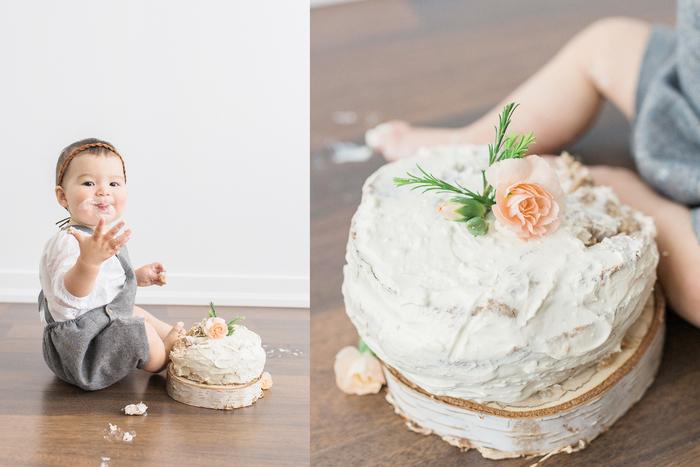 gâteau d'anniversaire 1 an, un smash cake au glaçage crème au beurre pour une séance photo originale avec le bébé