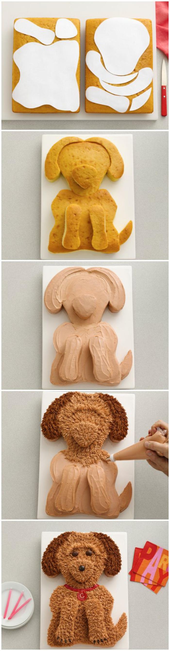 tuto pour réaliser un gateau au chocolat anniversaire en forme de chien