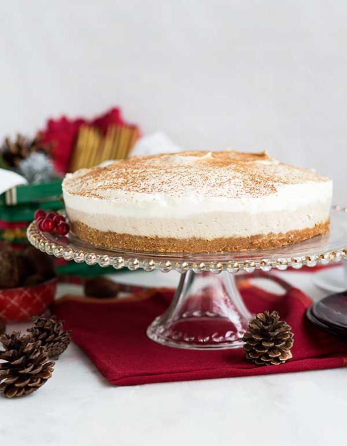 un gâteau de noel façon cheesecake à la mousse de châtaignes, recette chataigne pour les fêtes de fin d'année