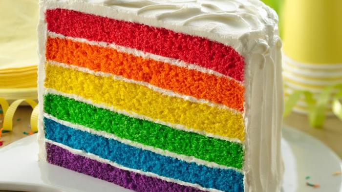 gateau anniversaire facile arc en ciel aux colorants alimentaires couleurs vives