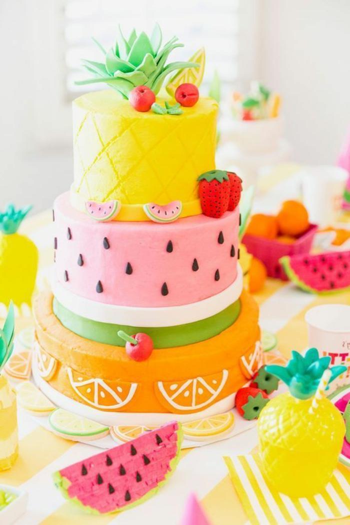 1001 id es pour un g teau d 39 anniversaire les mod les - Decoration de gateau avec des fruits ...