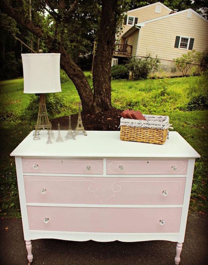 renovation commode en bois rose et bois chambre fille