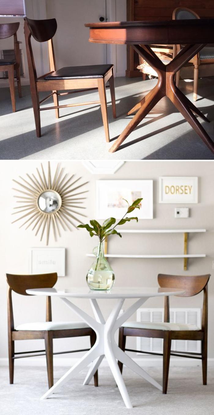 joli relooking salle à manger, une table ronde repeinte en blanc avec des chaises contrastées
