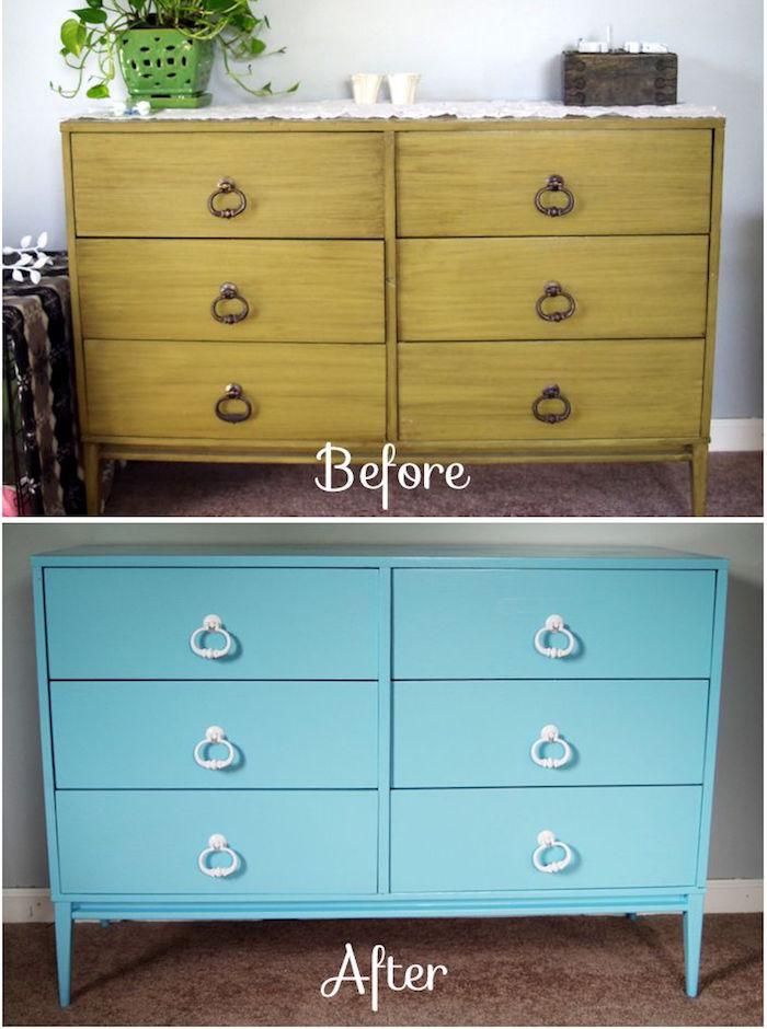 meuble repeint avant après repeindre commode renovation