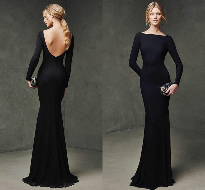 robe de soirée manche longue, robe dos dénudé, robe moulante sirène,