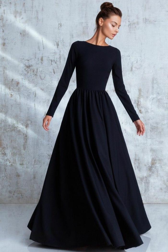 robe de soirée manche longue, robe figure sablier, manches longues, silhouette classique