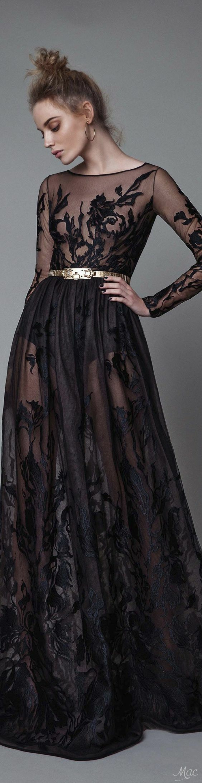 robe dentelle, jolie robe noire avec dentelle florale sur toute la longueur, ceinture dorée