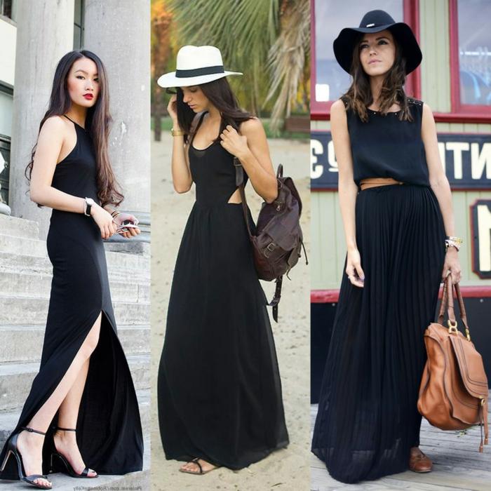 robe fluide, robe plissée, robe fendue, chapeaux feutre, sacs en cuir, robes de tous les jours
