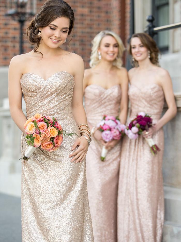 des robes de filles d honneur bustier à paillettes rose doré