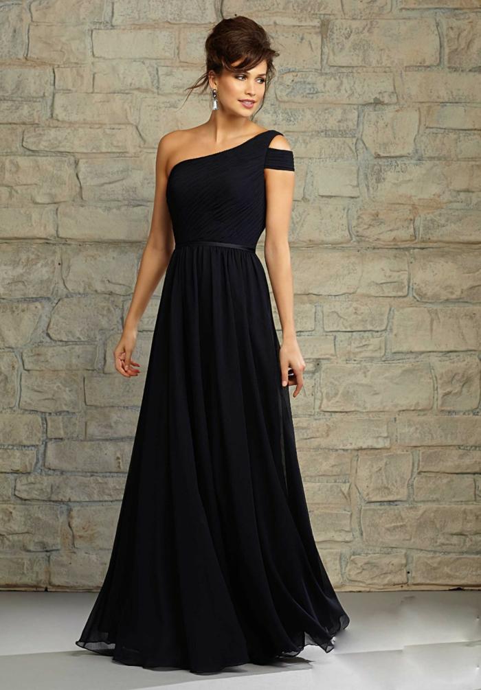 robe longue de soirée, épaule asymétrique, taille soulignée, robe évasée