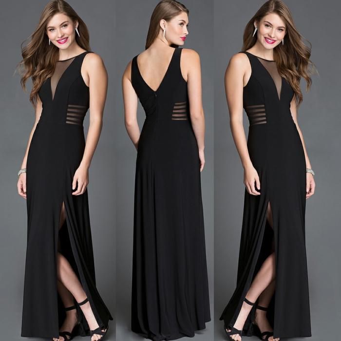robe longue noire, décolleté chiffon, fente latérale, sandales hautes, robe officielle