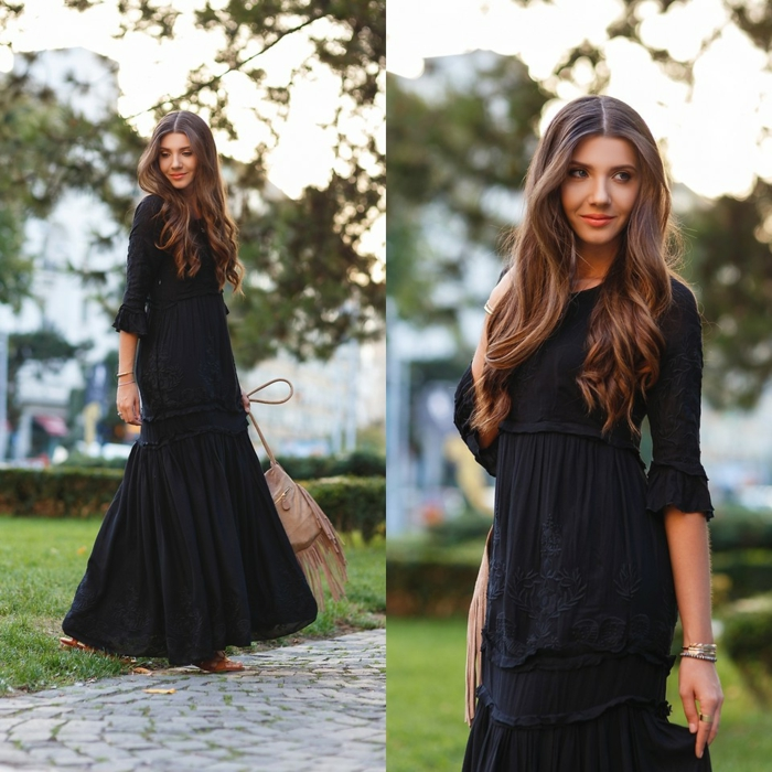 robe manches longues, robe style boho chic, robe fluide d'été style casual