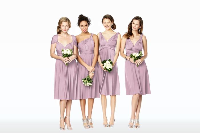 des robes de cérémonie convertibles en couleur parme d'une longueur tendance dessous les genoux