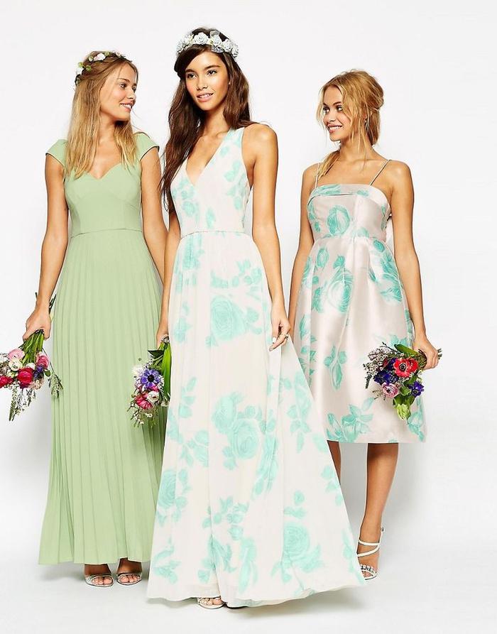 des robes de cérémonie dépareillées aux nuances de vert pour un look en harmonie avec la nature