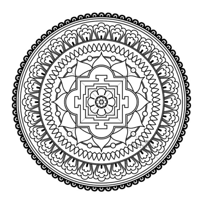 un dessin zen à colorier en forme de mandala oriental composé de cercles concentriques et de motifs orientaux