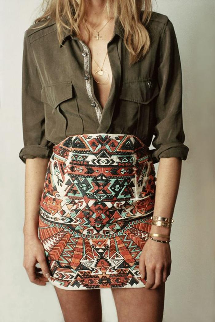 Robe deux pièces chemise vert saharienne chemise femme chic chemise courte femme mini jupe tribal emprunte