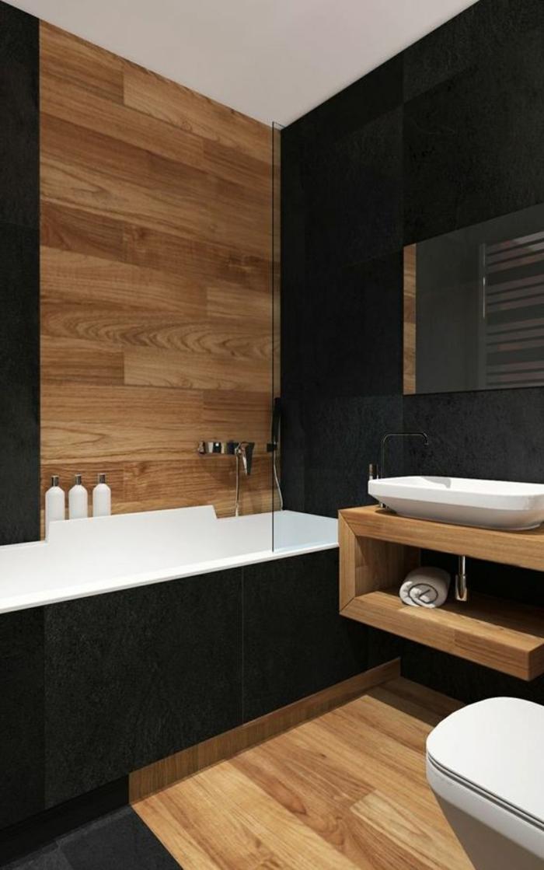salle de bain cocooning, carrelage effet bois, baignoire blanche, meuble en bois