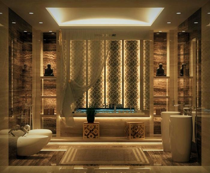 salle de bain cocooning, salle d'eau en style japonais, deux statuettes bouddha, vasques colonnes blanches