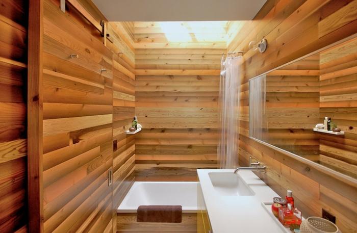 salle de bain nature, vasque blanche rectangulaire, agencement style chalet