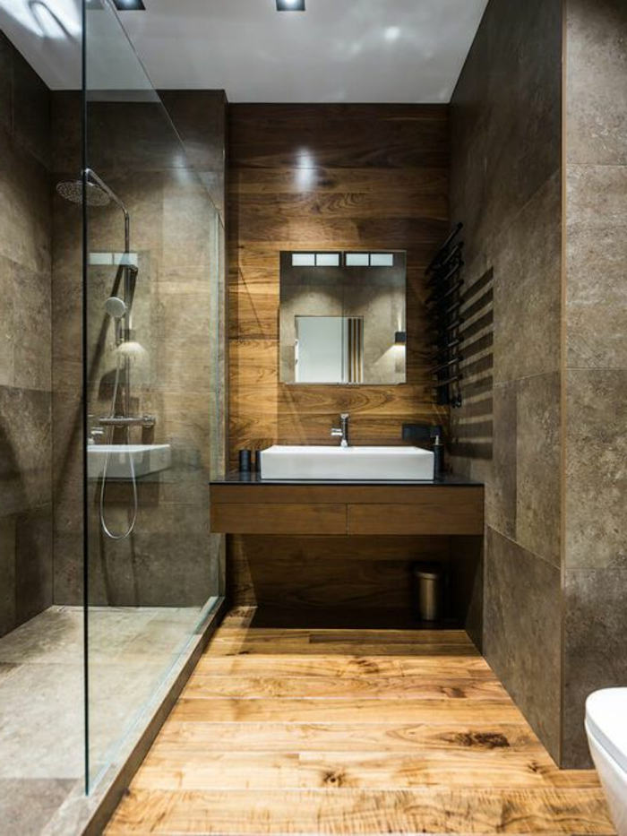 salle de bain zen, cabine de douche et carrelage gris beige, revêtement bois