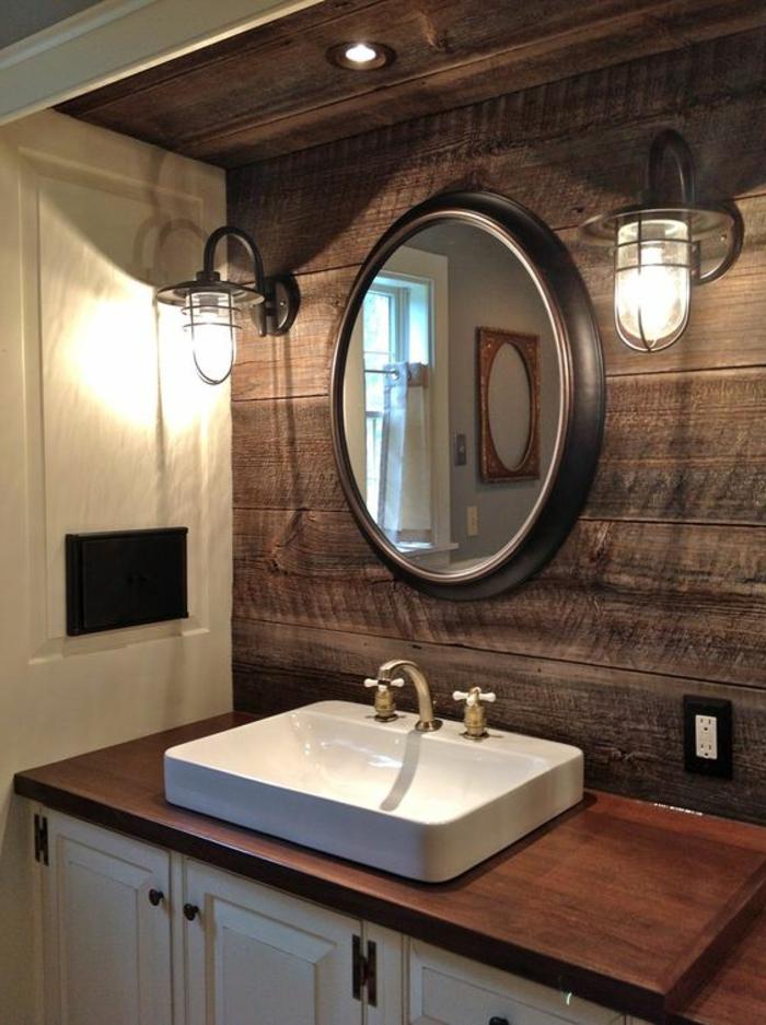 salle de bain zen, miroir rond et lampes cages style industriel, vasque blanche rectagulaire