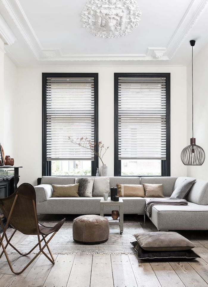 salon couleur taupe taupe et blanc et canapé gris