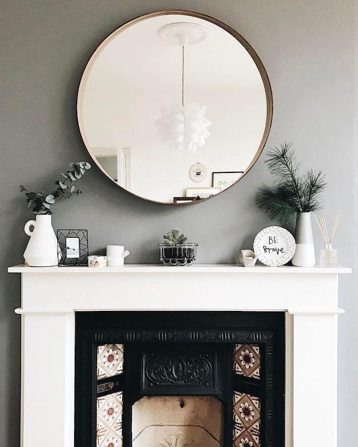idée pour cuisine peinture murale gris perle salon et blanc