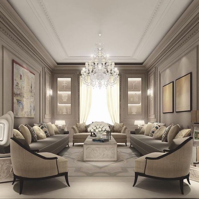 Elegant Indian Sofa Designs For Small Drawing Room In Home: Salon Taupe - Notre Jardin D'idées En 57