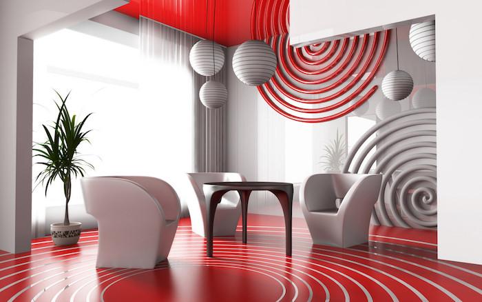 plafond et sol blanc, mur d accent spirale rouge et blanche, fauteuils blancs, table ronde inox, suspensions blanches