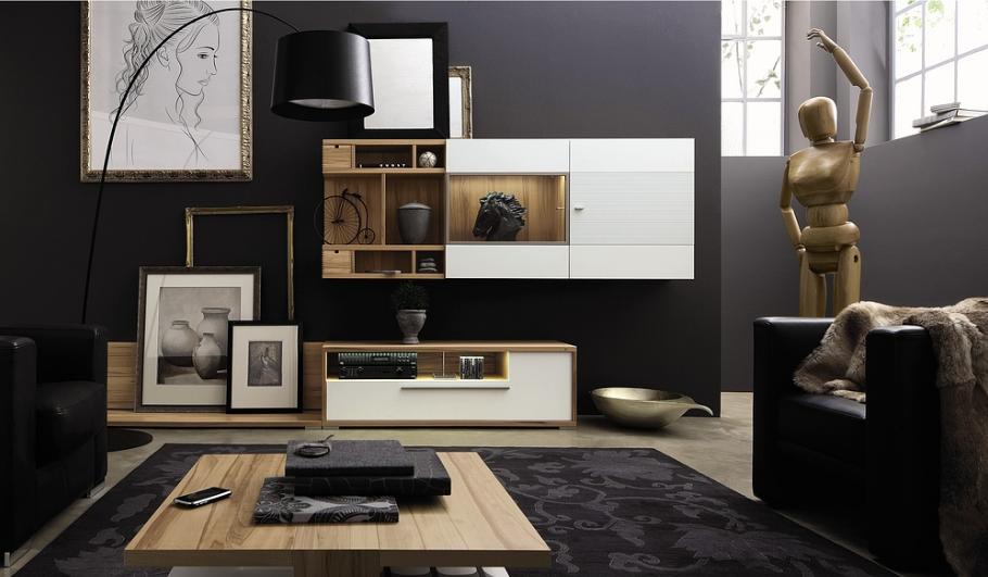 idee deco salon taupe gris foncé blanc beige or moderne design
